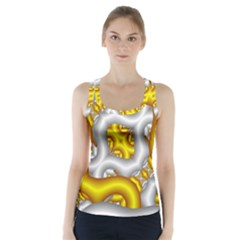 Fractal Background With Golden And Silver Pipes Racer Back Sports Top