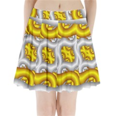 Fractal Background With Golden And Silver Pipes Pleated Mini Skirt