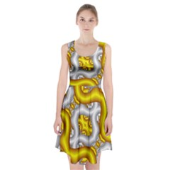 Fractal Background With Golden And Silver Pipes Racerback Midi Dress