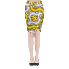 Fractal Background With Golden And Silver Pipes Midi Wrap Pencil Skirt