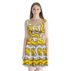 Fractal Background With Golden And Silver Pipes Split Back Mini Dress