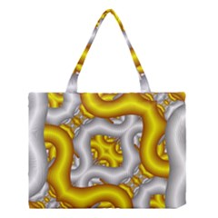Fractal Background With Golden And Silver Pipes Medium Tote Bag