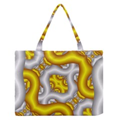 Fractal Background With Golden And Silver Pipes Medium Zipper Tote Bag
