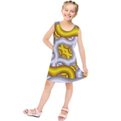 Fractal Background With Golden And Silver Pipes Kids  Tunic Dress