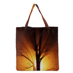 Rays Of Light Tree In Fog At Night Grocery Tote Bag