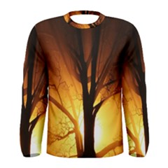 Rays Of Light Tree In Fog At Night Men s Long Sleeve Tee