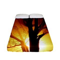 Rays Of Light Tree In Fog At Night Fitted Sheet (full/ Double Size)