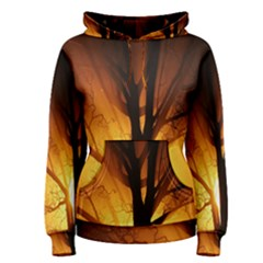 Rays Of Light Tree In Fog At Night Women s Pullover Hoodie