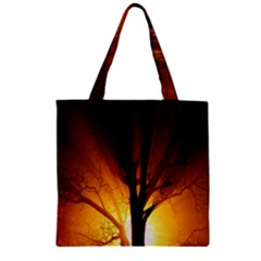 Rays Of Light Tree In Fog At Night Zipper Grocery Tote Bag