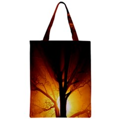 Rays Of Light Tree In Fog At Night Zipper Classic Tote Bag