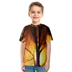 Rays Of Light Tree In Fog At Night Kids  Sport Mesh Tee
