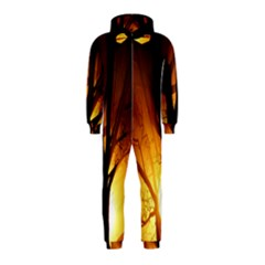 Rays Of Light Tree In Fog At Night Hooded Jumpsuit (kids)