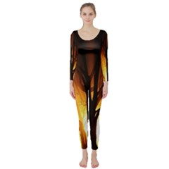 Rays Of Light Tree In Fog At Night Long Sleeve Catsuit
