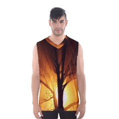 Rays Of Light Tree In Fog At Night Men s Basketball Tank Top