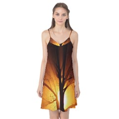 Rays Of Light Tree In Fog At Night Camis Nightgown