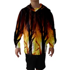 Rays Of Light Tree In Fog At Night Hooded Wind Breaker (Kids)