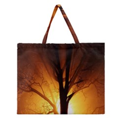 Rays Of Light Tree In Fog At Night Zipper Large Tote Bag