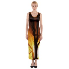Rays Of Light Tree In Fog At Night Fitted Maxi Dress