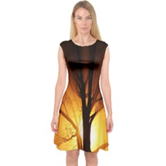 Rays Of Light Tree In Fog At Night Capsleeve Midi Dress