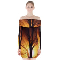 Rays Of Light Tree In Fog At Night Long Sleeve Off Shoulder Dress