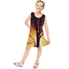 Rays Of Light Tree In Fog At Night Kids  Tunic Dress
