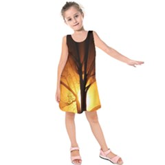 Rays Of Light Tree In Fog At Night Kids  Sleeveless Dress