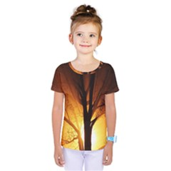Rays Of Light Tree In Fog At Night Kids  One Piece Tee