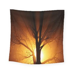 Rays Of Light Tree In Fog At Night Square Tapestry (small)