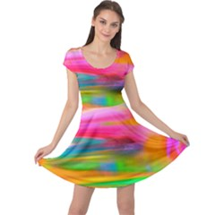 Abstract Illustration Nameless Fantasy Cap Sleeve Dresses