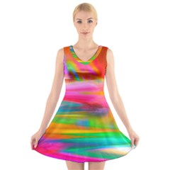 Abstract Illustration Nameless Fantasy V Neck Sleeveless Skater Dress