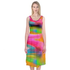 Abstract Illustration Nameless Fantasy Midi Sleeveless Dress