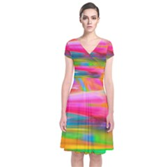 Abstract Illustration Nameless Fantasy Short Sleeve Front Wrap Dress