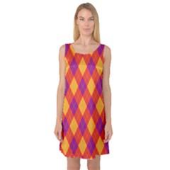Plaid pattern Sleeveless Satin Nightdress