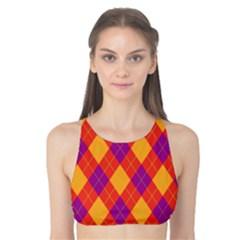 Plaid pattern Tank Bikini Top