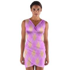 Plaid pattern Wrap Front Bodycon Dress
