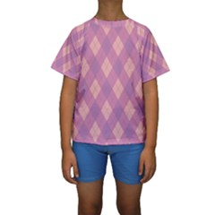 Plaid pattern Kids  Short Sleeve Swimwear