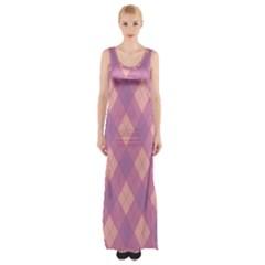 Plaid pattern Maxi Thigh Split Dress
