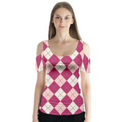 Plaid pattern Butterfly Sleeve Cutout Tee