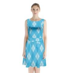 Plaid pattern Sleeveless Chiffon Waist Tie Dress
