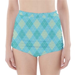 Plaid pattern High-Waisted Bikini Bottoms