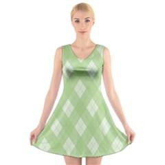 Plaid pattern V-Neck Sleeveless Skater Dress