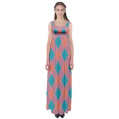 Plaid pattern Empire Waist Maxi Dress