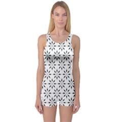 Pattern One Piece Boyleg Swimsuit