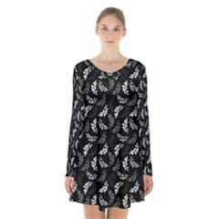 Pattern Long Sleeve Velvet V-neck Dress