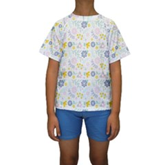 Vintage Spring Flower Pattern  Kids  Short Sleeve Swimwear