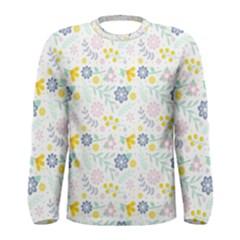 Vintage Spring Flower Pattern  Men s Long Sleeve Tee