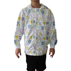 Vintage Spring Flower Pattern  Hooded Wind Breaker (Kids)
