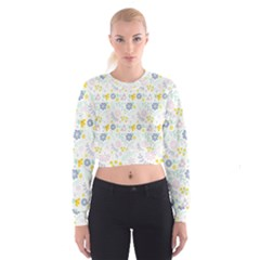 Vintage Spring Flower Pattern  Women s Cropped Sweatshirt