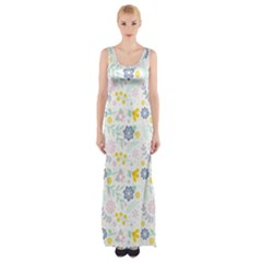 Vintage Spring Flower Pattern  Maxi Thigh Split Dress