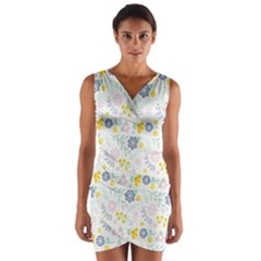 Vintage Spring Flower Pattern  Wrap Front Bodycon Dress